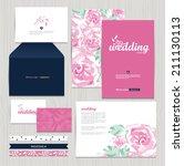 set of vintage wedding cards...   Shutterstock .eps vector #211130113