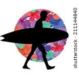 surfer and flower vector art | Shutterstock .eps vector #211144840