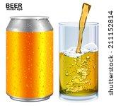aluminum cans  glass of beer... | Shutterstock .eps vector #211152814