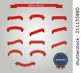 red ribbons set | Shutterstock .eps vector #211155880