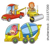 set of construction vehicle... | Shutterstock .eps vector #211157200