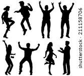 several people are dancing on...   Shutterstock .eps vector #211158706