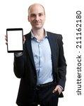 business man holding digital... | Shutterstock . vector #211162180