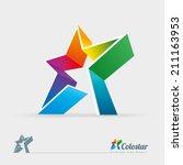 vector 3d colorful star logo... | Shutterstock .eps vector #211163953