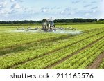tractor spraying pesticides on... | Shutterstock . vector #211165576