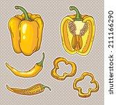 vector set with vegetables ... | Shutterstock .eps vector #211166290