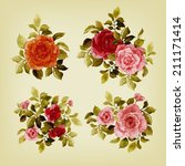 vector set of bouquets of roses ... | Shutterstock .eps vector #211171414