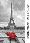 Eiffel Tower In The Rain With...