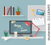 home workplace flat vector... | Shutterstock .eps vector #211183693