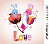 bunny characters in love | Shutterstock .eps vector #211189264
