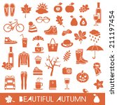 big set of autumn vector icons | Shutterstock .eps vector #211197454