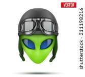 green alien head in aviator... | Shutterstock .eps vector #211198216