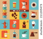 flat modern icons for coffee... | Shutterstock .eps vector #211205473