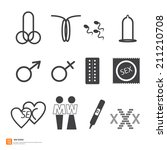 Sex sign icons. penis vagina symbol.xxx vector illustration