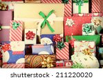closeup of a large stack of... | Shutterstock . vector #211220020