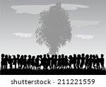 children silhouettes   Shutterstock .eps vector #211221559