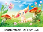 fairy happy baby fox on green... | Shutterstock .eps vector #211224268