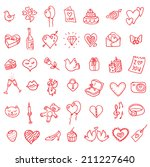i love you doodle icon set... | Shutterstock . vector #211227640