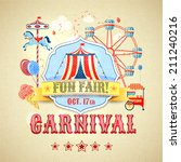 vintage carnival fun fair theme ... | Shutterstock .eps vector #211240216