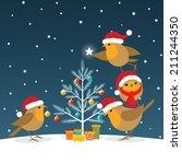 Robins Wearing Santa Claus Hat...