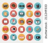 designer's desktop  set of flat ... | Shutterstock .eps vector #211249333