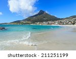 Beautiful Camps Bay Beach and Lion Head Mountain Chain, Cape Town, South Africa