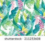 exotic flowers and leaves | Shutterstock . vector #211253608