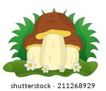 three mushrooms with flowers on ...   Shutterstock .eps vector #211268929