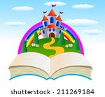 open book with a fairy tale... | Shutterstock .eps vector #211269184