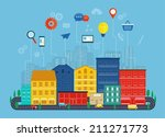 global communication and ...   Shutterstock .eps vector #211271773