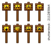 set of wooden posts with yellow ...