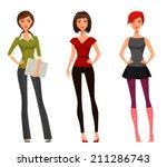 cute cartoon girl with various...   Shutterstock .eps vector #211286743