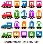 set colorful train with many... | Shutterstock . vector #211287739