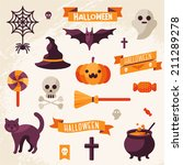 set of halloween ribbons and...   Shutterstock .eps vector #211289278