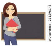 cute student with books in... | Shutterstock .eps vector #211296148