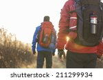 rear view of male backpackers... | Shutterstock . vector #211299934