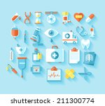 flat medical icons set with... | Shutterstock .eps vector #211300774