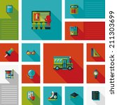 back to school flat ui with... | Shutterstock .eps vector #211303699