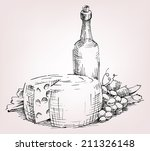 old bottle wine  cheese  grape