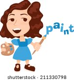 little girl with palette and... | Shutterstock .eps vector #211330798