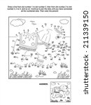 Connect the dots picture puzzle and coloring page with walking elephant. Answer included.  - stock vector