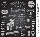 set of barbershop design logo... | Shutterstock . vector #211344223