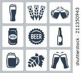 beer related vector icons set | Shutterstock .eps vector #211350943