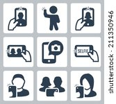 selfie related vector icons set | Shutterstock .eps vector #211350946