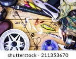 Fishing Gear On The Table As A...