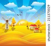 autumn in village background   Shutterstock .eps vector #211370029