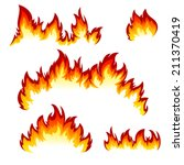 flames of different shapes on a ... | Shutterstock .eps vector #211370419