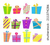 vector set of colorful cartoon... | Shutterstock .eps vector #211374286
