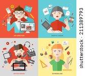 flat design of creative people... | Shutterstock .eps vector #211389793