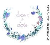 watercolor flowers wreath frame | Shutterstock .eps vector #211404169